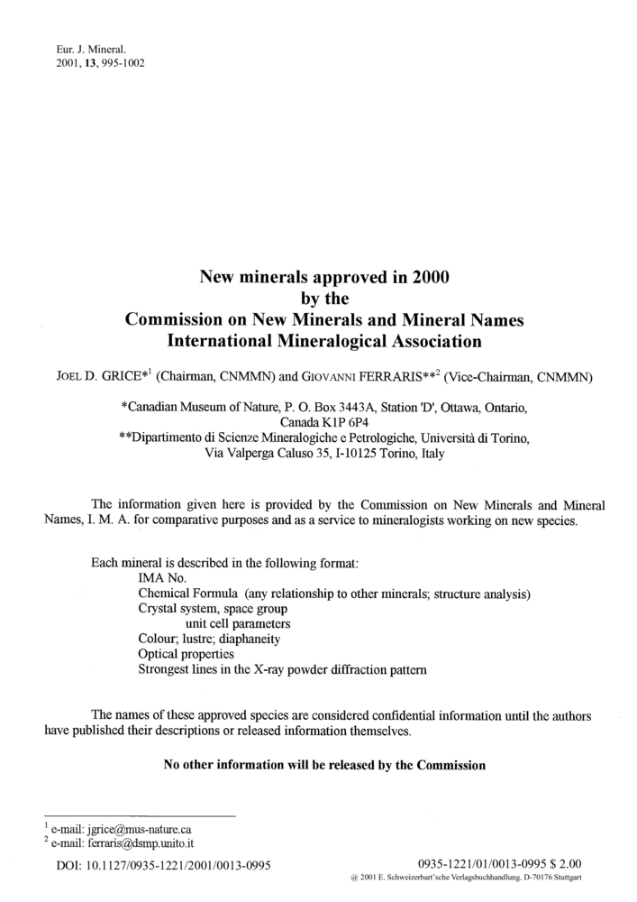New minerals approved in 2000 by the Commission on New Minerals and