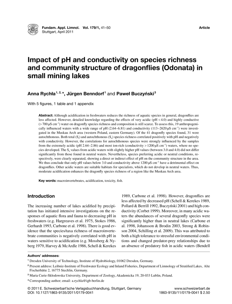 impact of ph and conductivity on species richness and community  impact of ph and conductivity on species richness and community structure of dragonflies odonata in small mining lakes