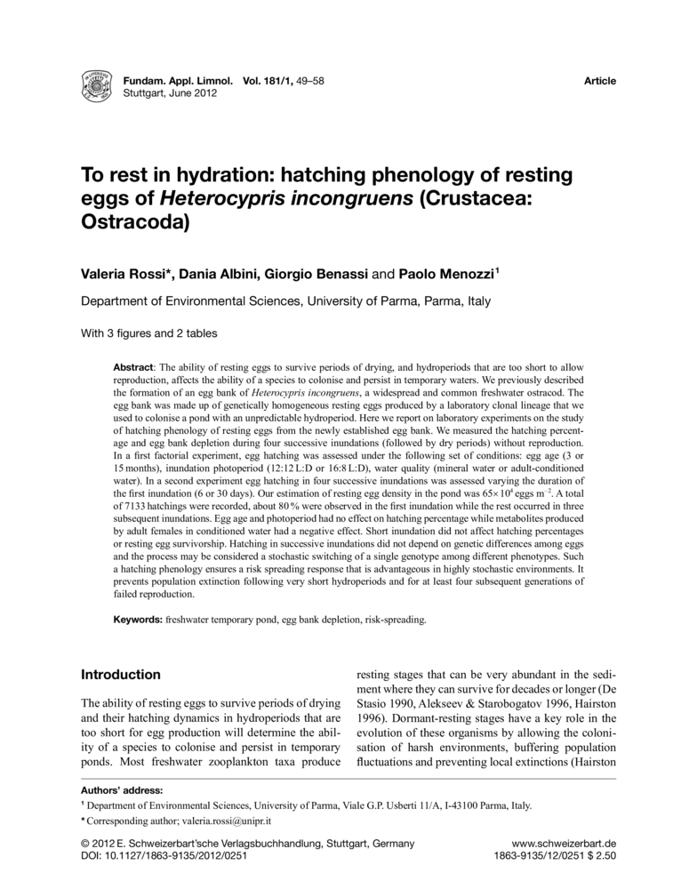 To rest in hydration: hatching phenology of resting eggs of