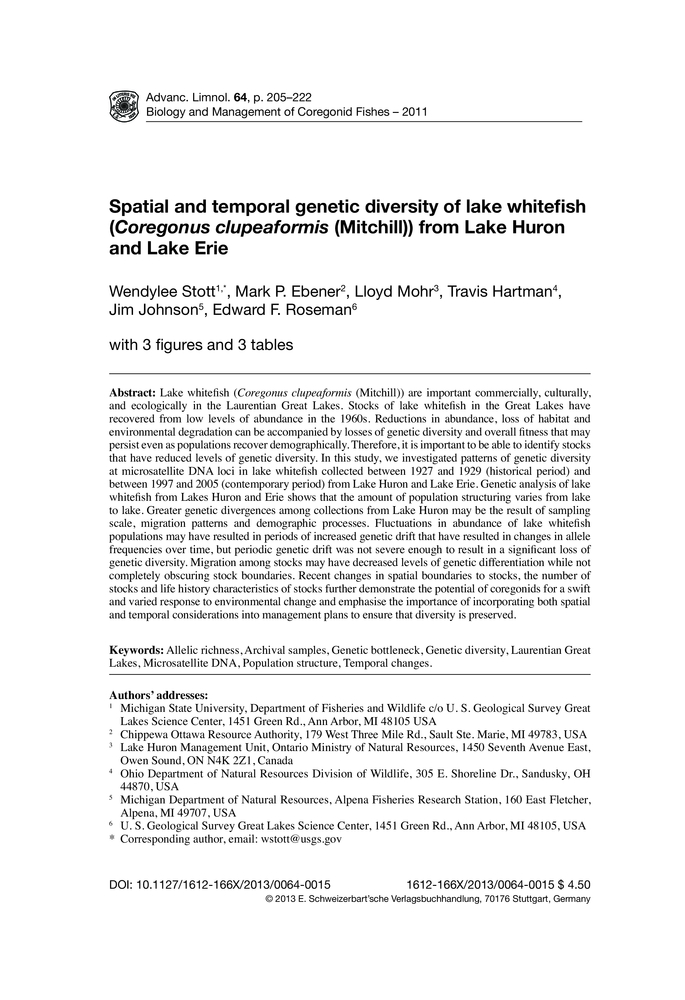 Spatial and temporal genetic diversity of lake whitefish
