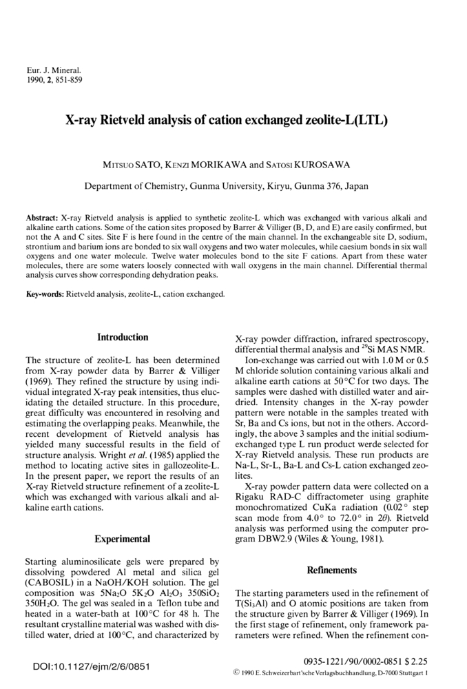 X-ray Rietveld analysis of cation exchanged zeolite-L(LTL