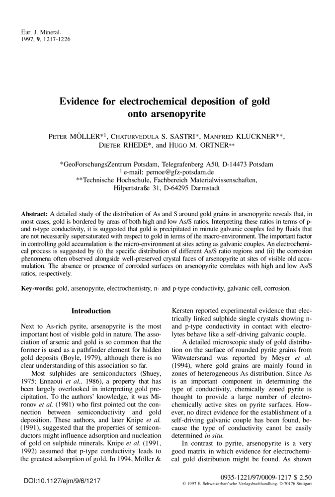 Evidence for electrochemical deposition of gold onto