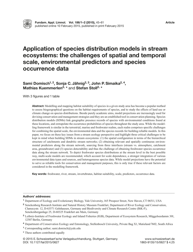 Application of species distribution models in stream ecosystems ...