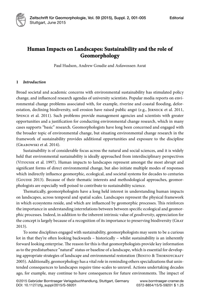 Human Impacts On Landscapes Sustainability And The Role Of