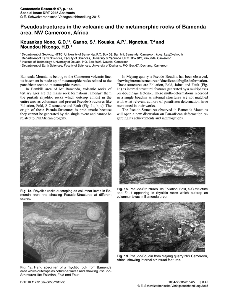 Pseudostructures in the volcanic and the metamorphic rocks