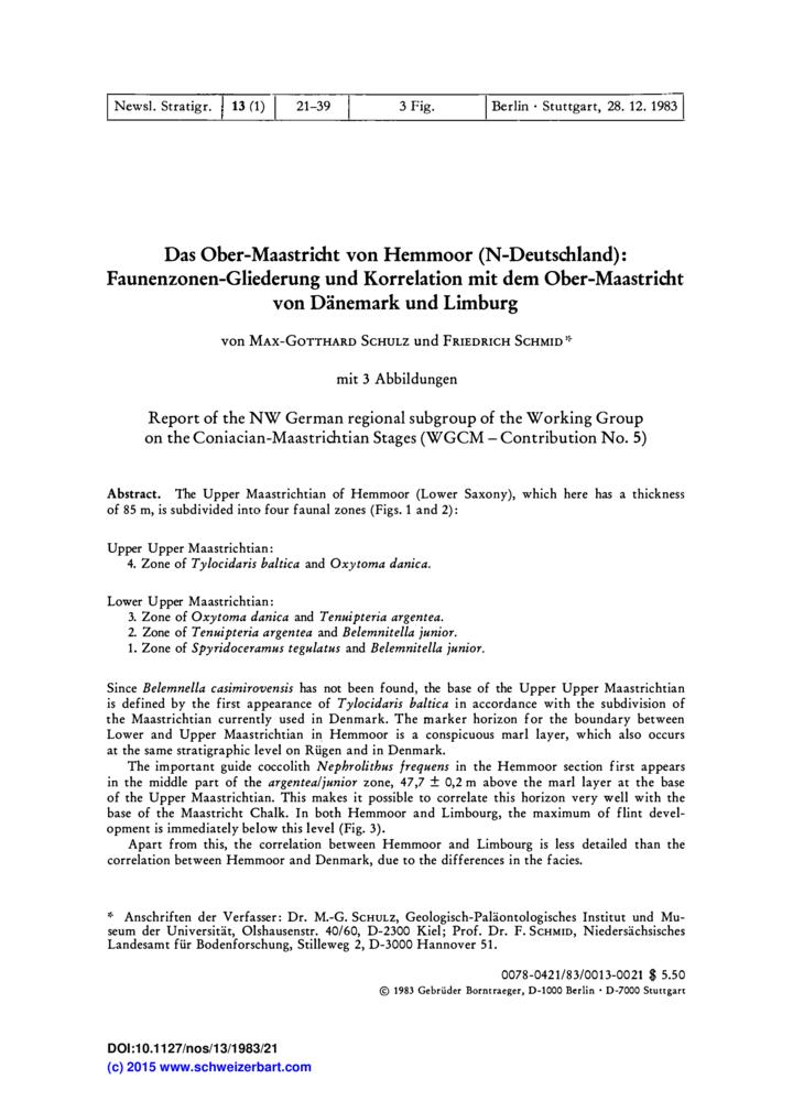Das Ober Maastricht Von Hemmoor N Deutschland Faunenzonen