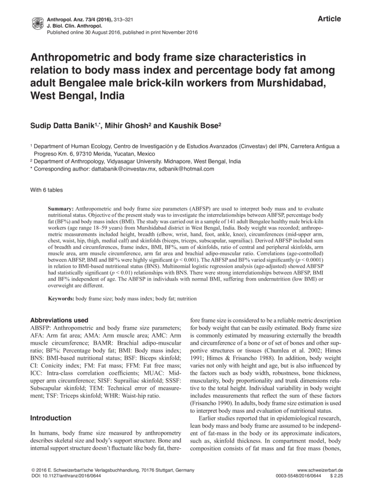 Anthropometric and body frame size characteristics in relation to ...