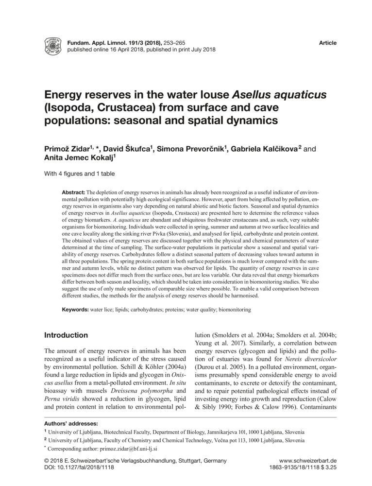 Energy reserves in the water louse Asellus aquaticus (Isopoda